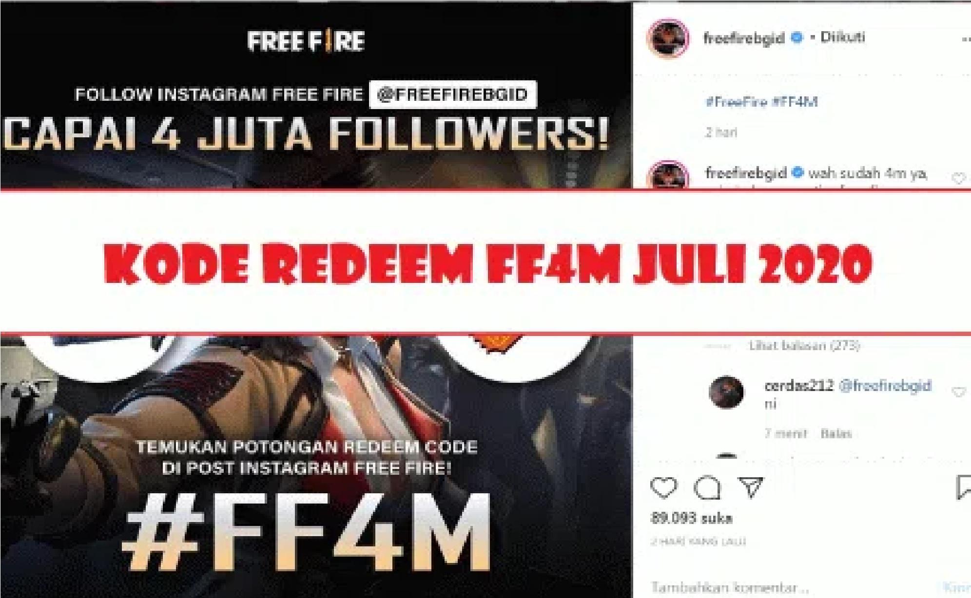 New Free Fire Redeem Code FF4MCJX3USPE July 2020 | Esportsku